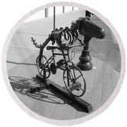 Dinosaur Biking Sculpture Grand Junction Co Round Beach Towel