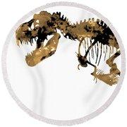 Dinosaur Sepia Print Round Beach Towel