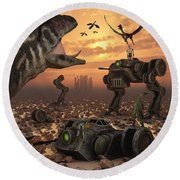 Dinosaurs And Robots Fight A War Round Beach Towel by Mark Stevenson