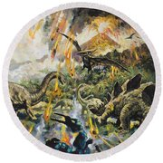 Dinosaurs And Volcanoes Round Beach Towel
