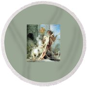 Diomedes Devoured By His Horses Watercolour Gustave Moreau Round Beach Towel