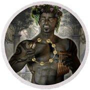 Dionysus God Of Grape Round Beach Towel