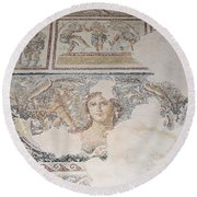 Dionysus Mosaic Mona Lisa Of The Galilee Round Beach Towel