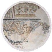 Dionysus Mosaic Mona Lisa Of The Galilee Round Beach Towel