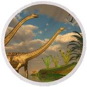 Diplodocus Dinosaur Romance Round Beach Towel