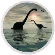 Diplodocus Dinosaurs Bathe In A Large Round Beach Towel