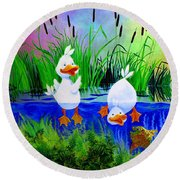Dipping Duckies - Furry Forest Friends Mural Round Beach Towel
