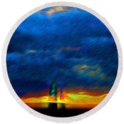 Directionless Familiar II Round Beach Towel