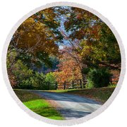 Dirt Road Through Vermont Fall Foliage Round Beach Towel