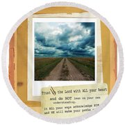 Dirt Road With Scripture Verse Round Beach Towel
