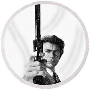 Dirty Harry Charcoal Round Beach Towel