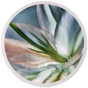 Dirty White Lily 2 Round Beach Towel