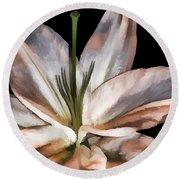 Dirty White Lily 3 Round Beach Towel