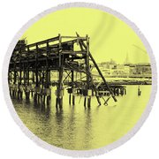 Disappearing Pier Round Beach Towel