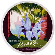 Discover Puerto Rico Round Beach Towel