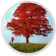 Discovering Autumn - Reflection Round Beach Towel