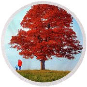 Discovering Autumn Round Beach Towel