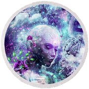 Discovering The Cosmic Consciousness Round Beach Towel