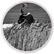 Discovery Bw Round Beach Towel