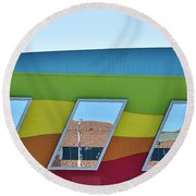 Discovery Science Center Window Reflection Round Beach Towel