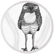 Disgruntled Owl Round Beach Towel