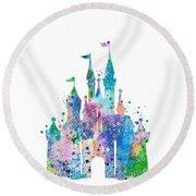 Disney Castle 2 Watercolor Print Round Beach Towel