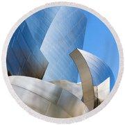 Disney Hall In Blue And Silver Round Beach Towel by Lorraine Devon Wilke
