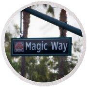 Disneyland Magic Way Street Signage Round Beach Towel