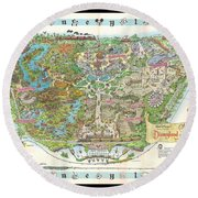Disneyland Of Old Round Beach Towel