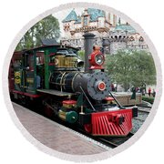 Disneyland Railroad Engine 3 With Castle Round Beach Towel