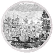 Disneyland Small World Panorama Pa Bw Round Beach Towel