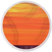 Distant Cell Towers At Sunrise Two Round Beach Towel