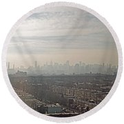 Distant City Round Beach Towel