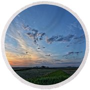 Distant Farm Round Beach Towel