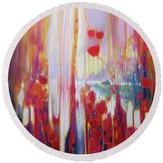 Distant Memory - A Semi Abstract Landscape Round Beach Towel
