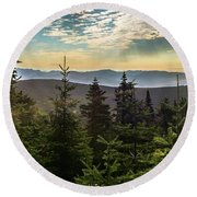Distant Mountains To The East Round Beach Towel