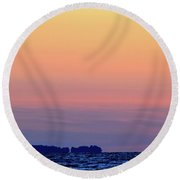 Distant North Shore Of Lake Simcoe  Round Beach Towel