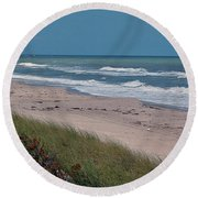 Distant Pier Round Beach Towel