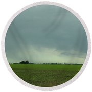 Distant Rain Driving Down I 57 Round Beach Towel