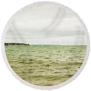 Distant Sails Round Beach Towel
