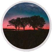 Distant Trees Under Milkyway Horizon By Adam Asar 2 Round Beach Towel