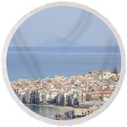Distant View Of Cefalu Sicily Round Beach Towel