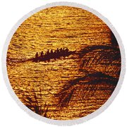 Distant View Of Outrigger Round Beach Towel