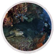 Diver And Sea Turtle, Manado, North Round Beach Towel by Mathieu Meur