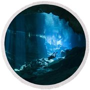Diver Enters The Cavern System N Round Beach Towel