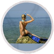 Diver On Guard. Round Beach Towel