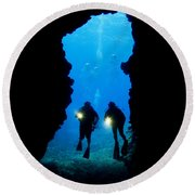 Divers Silhouetted Through Reef Round Beach Towel