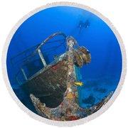 Divers Visit The Pelicano Shipwreck Round Beach Towel
