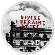 Divine Lorraine Hotel Marquee Round Beach Towel