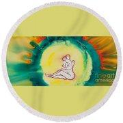 Divine Love Series No. 2086 Round Beach Towel